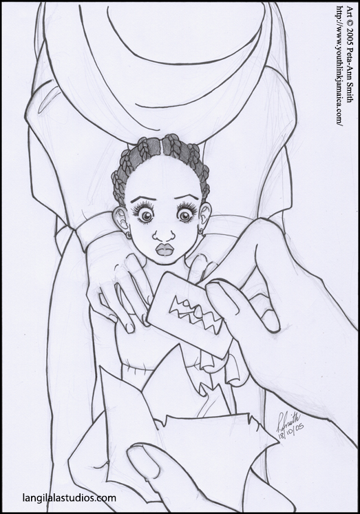 """""""Female Genital Mutilation, or FGM"""" - An editorial illustration by Peta-Ann Smith for YouthLink Magazine, published by The Gleaner Company Limited in Jamaica."""